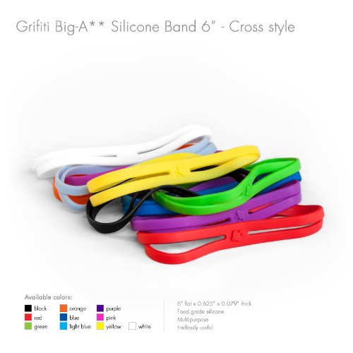 Grifiti Big-Ass Bands X Cross Style 6' 5 Pack Books, Camera Lens, Art, Cooking, Wrapping, Exercise, MacBooks, Bag Wraps, Dungies Replacements, and Made with Silicone Instead of Rubber or Elastic