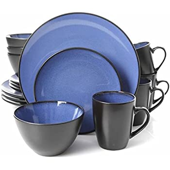 Gibson Home 16 Piece Reactive Stoneware Soho Round Dinnerware Set Blue  sc 1 st  Amazon.com & Amazon.com: Gibson Home 16 Piece Reactive Stoneware Soho Round ...