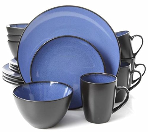 8' Dinner Bowl - Gibson Home Soho Round 16 Piece Dinnerware Set, Blue/Black