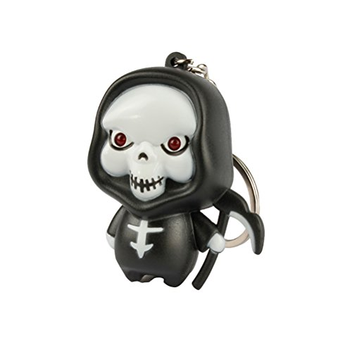 Tinksky Halloween Cartoon Creative LED Skeleton Key Chain Key Ring Party Favor Gift (Red Light)