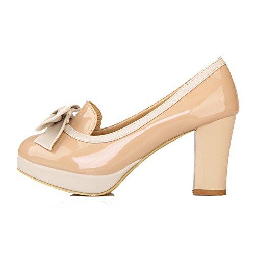 VogueZone009 Damen Mittler Absatz Rein Ziehen auf Lackleder Rund Zehe Pumps Schuhe, Pink, 36