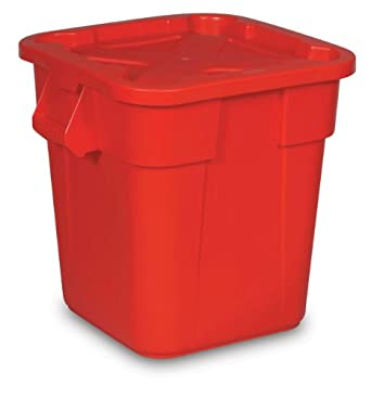Rubbermaid Commercial FG351700RED Brute Rectangular Trash Can and Snap-Lock Lid Combo Pack, 28-gallon, Red
