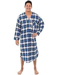 Mens Flannel Nightshirt, Long Lightweight Cotton Kaftan