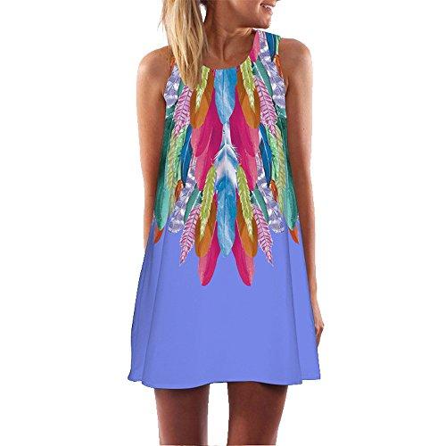 - 2019 Hot Women 3D Floral Print Bohe Tank Short O-Neck Loose Summer Vintage Sleeveless Mini Dress by G-Real Purple