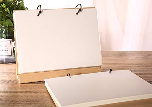 Steno Binder - Top Spiral White Blank Planner 2 Ring Binder Desktop Standing Sketchbook Refillable Paper to-Do List Agenda Notepad, Kraft Paper Cover, Office & School Stationery Gift