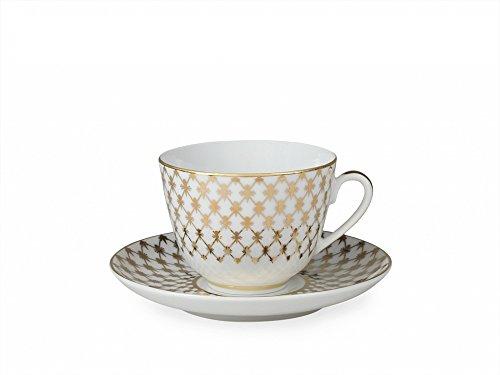Lomonosov Porcelain Tea Cup Set Spring Jazz Golden Net 7.8 oz/230ml