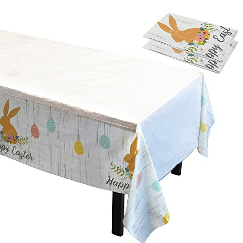 (Easter Tablecloth - 3 Pack of Disposable Plastic Rectangular Tablecloths - Bunny and Egg Design, 54 x 108)