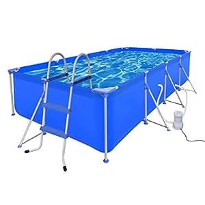 vidaXL Piscina Con Escalera y con Bomba Con Filtro 394 x 207 x 80 cm Color Azul