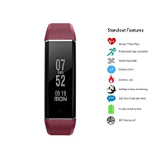 Kobwa IP67 Waterproof Smart Watch Fitness Bracelet Wirstband With Swimming Mode, Heart Rate Monitor, Pedometer, Sleeping Tracker, Calorie Consumption, Calls Message Vibration