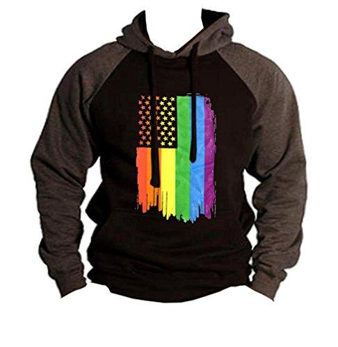 - Men's Rainbow Pride Flag Black/Charcoal Raglan Baseball Hoodie Sweater X-Large Black