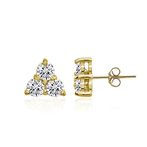 Yellow Gold Flashed Sterling Silver Three Stone Round Cubic Zirconia Cluster Triangle Stud Earrings