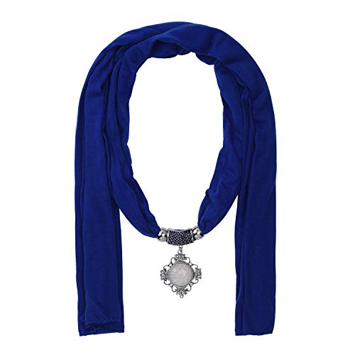 Jinsen Women's Scarf Necklace with Fashion Stone Pendant