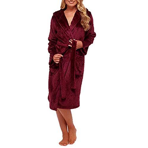 Longues Vêtements D'hiver Peignoir Femmes Les Accueil Peluche Châle En Manteau tefamore Rouge Allongé Manches Robe gZqfSwxa