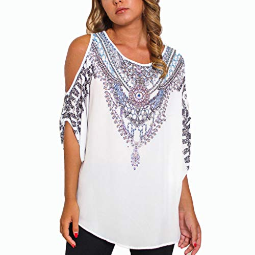 Aniywn Women's Casual O-Neck Vintage Printed Off Shoulder Half Sleeve Loose T-Shirt Tunic Top White ()
