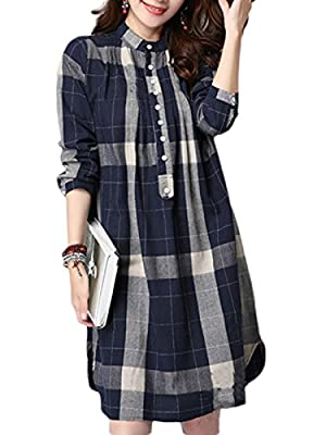 MissLook Women's Checkered Plaid 3/4 Sleeve Button Shift Shirt Dress