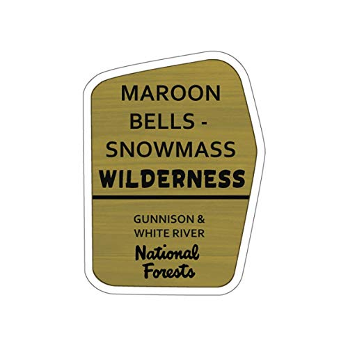 (Maroon Bells-Snowmass Wilderness Trail Sign Vinyl Sticker - CO Hiking/Camping Decal for Car, Laptop, and Water Bottle)