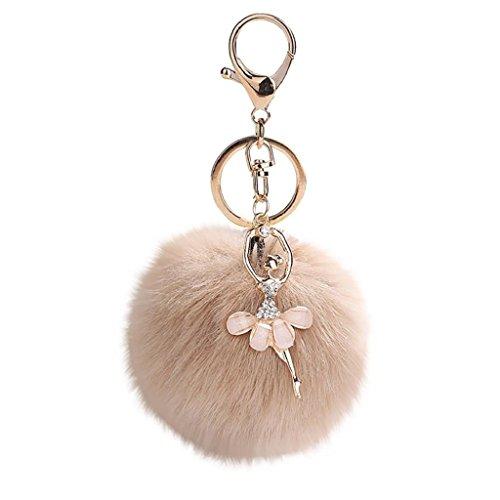 Doinshop 8CM Cute Dancing Angel Keychain Pendant Holder Pompoms Key Chains Handbag Tote Bag Key Ring (Khaki#1) - Angel Handbag Holder