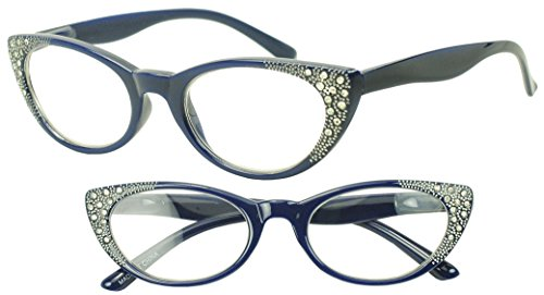 Round Pointed Cat Eye Rx +1.00 - +3.50 Prescription Eye Glasses with Rhinestones (Blue, - Bling With Eyeglasses Designer