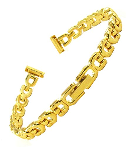 10mm Speidel Ladies Gold Tone Horseshoe Link Design Center Clasp Watch Band 687 ()
