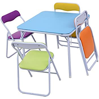 Amazon.com: Kids Colorful 5 Piece Folding Table and Chair ...