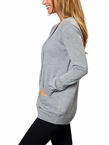 Kirkland Signature Women 100% Extra Fine Merino Wool Cardigan (Light Grey, XX-Large) by Kirkland Signature (Image #3)