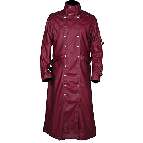 The Stampede Series Trigun VASH Trench Leather Coat (XLarge, Faux Leather) Maroon