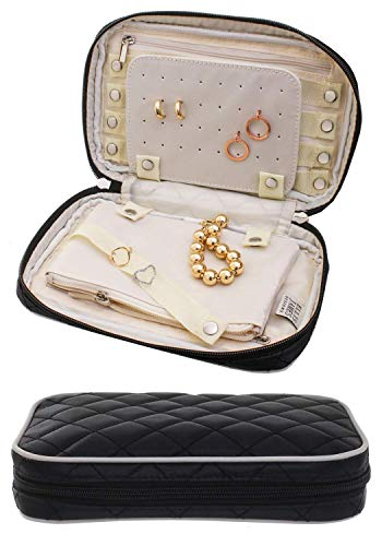 Ellis James Designs Jewelry Travel Bag and Organizer Elegant Pouch with Quilted Exterior and Padded for Protection - Keeps Your Earrings, Necklaces and Other Treasures Neat and Secure - Black