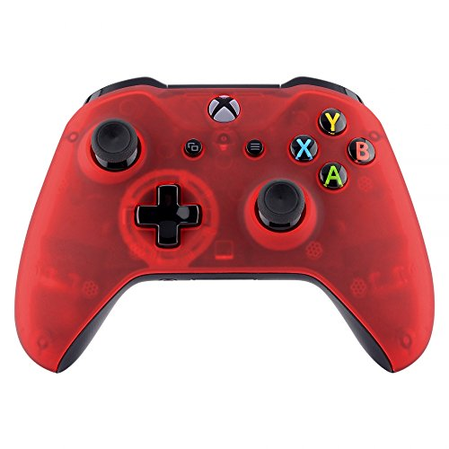 eXtremeRate Foggy Clear Red Faceplate Cover, Soft Touch Front Housing Shell Case, Comfortable Soft Grip Replacement Kit for Xbox One S & Xbox One X Controller