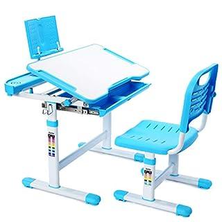 Forfar Kids Desk and Chair Set Children Study Table Height Adjustable Kids Desk Ergonomic Design School Students Writing Desk Tilt Desktop Storage Drawer Bookstand for Boys & Girls (Blue)