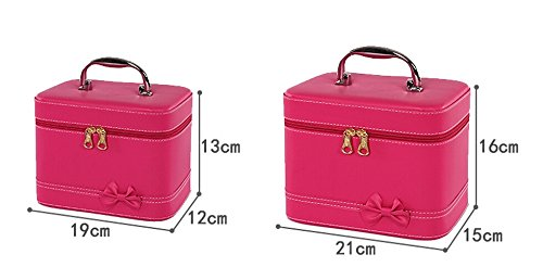 HOYOFO Makeup Case for Women Cosmetic Storage Box Makeup Train Case (2 Bags/set) (Red) by HOYOFO (Image #4)