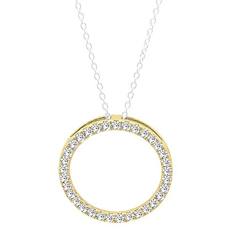 Dazzlingrock Collection 0.33 Carat (ctw) 14K Round White Diamond Circle Pendant 1/3 CT (Silver Chain Included), Yellow Gold
