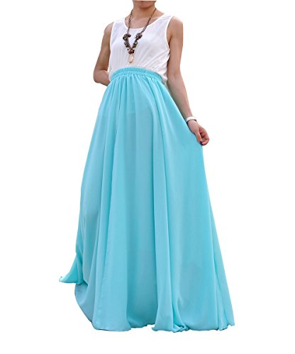 - MELANSAY Women's Beatiful Bow Tie Summer Beach Chiffon High Waist Maxi Skirt XL,Ice Blue