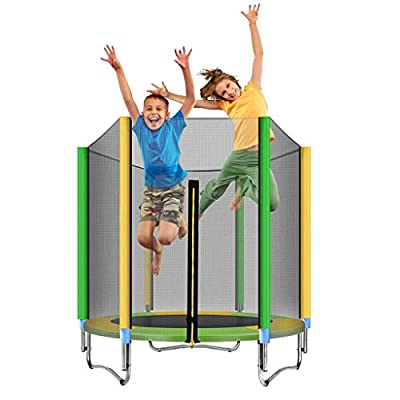 5ft Safety Kids Trampoline, with Safety Enclosure Net & Spring Pad, Bulit-in Zipper Heavy Duty Steel Frame, Outdoor Indoor Mini Trampolines for Kids, Including All Accessories (Mutilcolor) : Pet Supplies