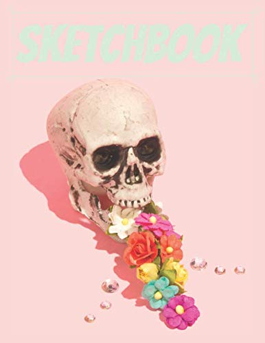 Sketchbook: Cute Skull Sketchbook for Adults/Children to Sketching, Whiting, Drawing, Journaling and Doodling, Large (8.5x11 Inch. 21.59x27.94 cm.) 120 Blank Pages (GREEN&PINK&YELLOW&WHITE Pattern) ()
