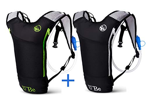 U`Be 2 Pack Hydration Backpack Water Pack for Hiking and Biking - Running Bag Camel Pack with 2L Bladder (Best Water Hydration Pack)