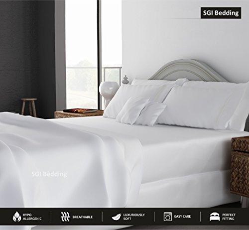 SGI bedding Queen Sheets Luxury Soft 100% Egyptian Cotton -Sheet Set for Queen Mattress White Solid 600 Thread Count Deep Pocket