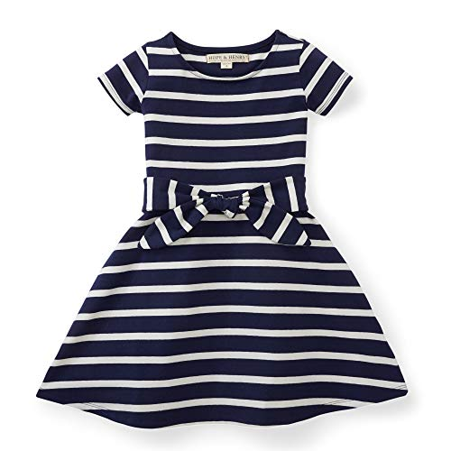 Hope & Henry Girls Navy with White Stripes Knit Tie Dress