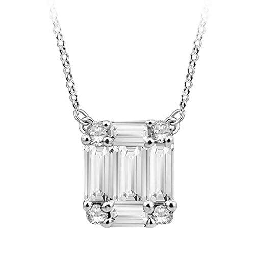 Halo Jewels 14K White Gold 0.13 Carat Round & Baguette-Shape (I-J Color, I2-I3 Clarity) Natural White Diamond Pendant Necklace for Women