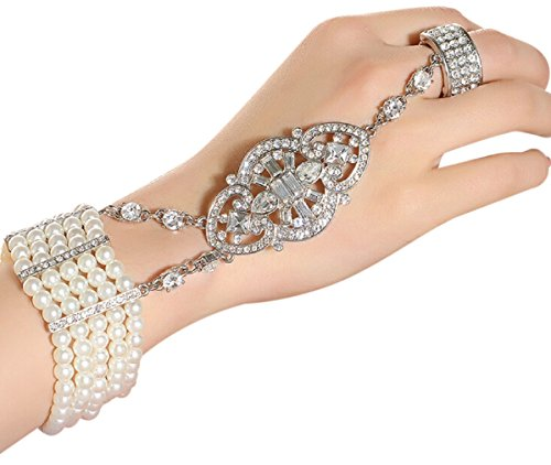 1920s Costumes Jewelry (Zking Art Deco Movie Inspired Flower Pattern Simulated Pearl Bracelet Adjustable Ring Set (D-silver))