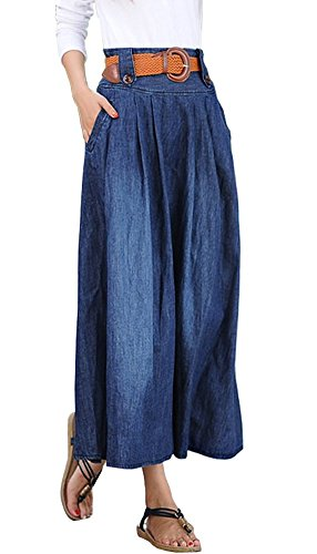 iRachel Women's Fashion Elastic Waist Denim Jean Full Long Maxi Skirt w/ Belt (Belt Skirt Full)