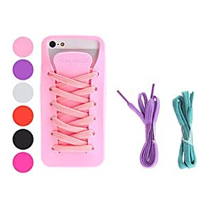 LCJ Shoe Design Soft Case with Shoelace for iPhone 5/5S (Assorted Colors) , Red