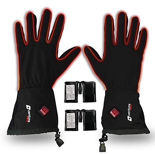 Battery Powered Electric Heating Gloves Touchscreen Thick Thermal Winter Driving Gloves for Skiing Hiking Cycling Climbing Loiion Heated Leather Gloves for Women Men