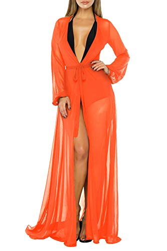 (Pink Queen Women's Long Sleeve Flowy Maxi Bathing Suit Swimsuit Tie Front Robe Cover Up Orange M)
