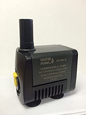 United Pump UP-80-S Fountain, Statuary, Table top Pump 75 GPH with On/Off switch and 6' cord