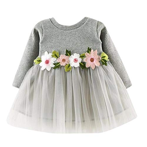 - RAINED-Toddler Baby Girls Princess Dress Dot Tulle Tutu Skirt Ruched Patchwork Lace Party Clothes D Gray