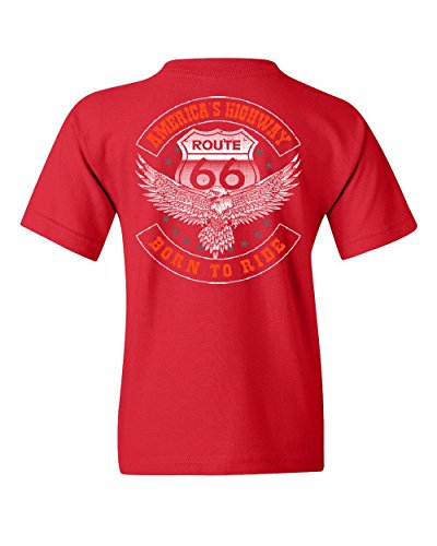 America's Highway Youth Tee Born to Ride Route 66 Biker MC Chopper Red XL