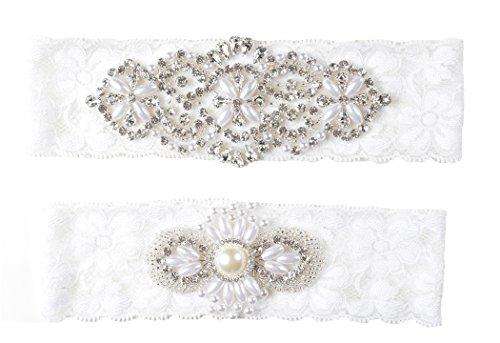 Wishprom Rhinestones Pearl Lace Wedding Bridal Garter Belt Set (Ivory)