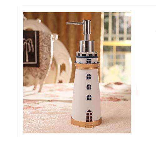 DALAZ Mediterranean Style Cute Lighthouse Decorative Bathroom Accessory Set Liquid Soap Lotion Pump Dispenser Resin White