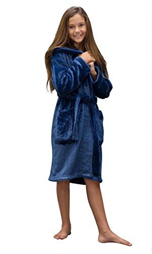 Boys and Girls Plush Super Soft Fleece Shawl Kid's Robe (Large, Navy Blue) - Blue Girls Robe