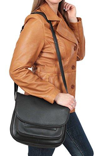 Damen Echtes Leder Schulter Kreuz Körper Tasche Vancouver Schwarz 28x24x12cm